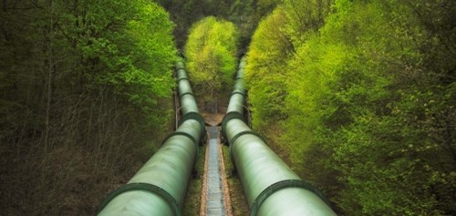 Pressure pipelines at pumped storage power plant in Erzhausen, in Germany.